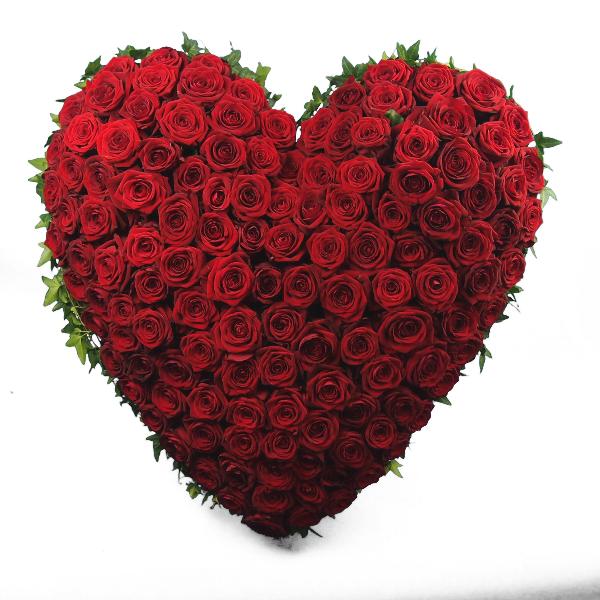 Trauerherz gesteckt mit roten Rosen (zum Aufstellen) Bild 1