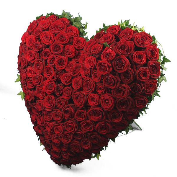 Trauerherz gesteckt mit roten Rosen (zum Aufstellen) Bild 2