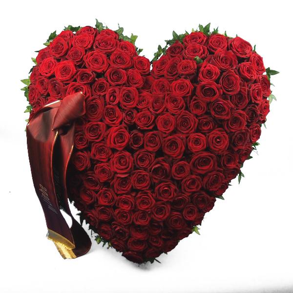 Trauerherz gesteckt mit roten Rosen (zum Aufstellen) Bild 3