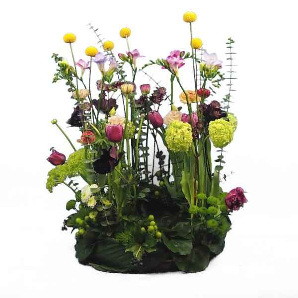 Urnenschmuck mit frühlingshafter Blumenkombination Bild 1