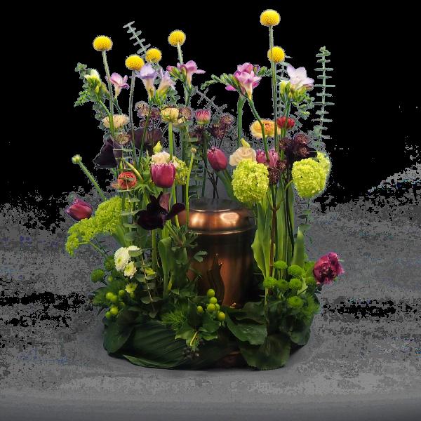 Urnenschmuck mit frühlingshafter Blumenkombination Bild 3