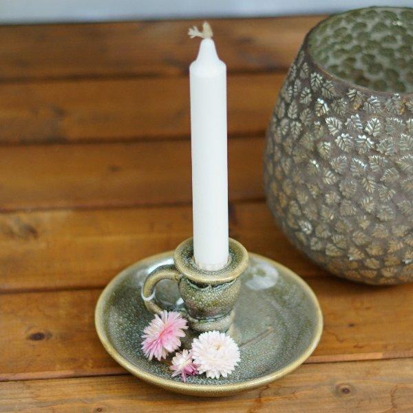 Kerzenhalter oliv-grün Bild 1