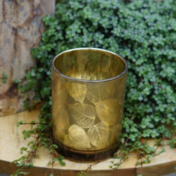 """Windlicht """"Herbstlaub"""" gold Bild 2"""