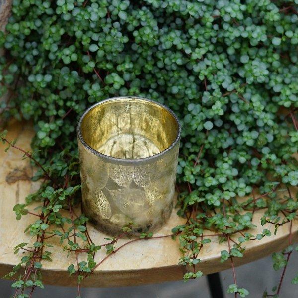 """Windlicht """"Herbstlaub"""" gold Bild 3"""
