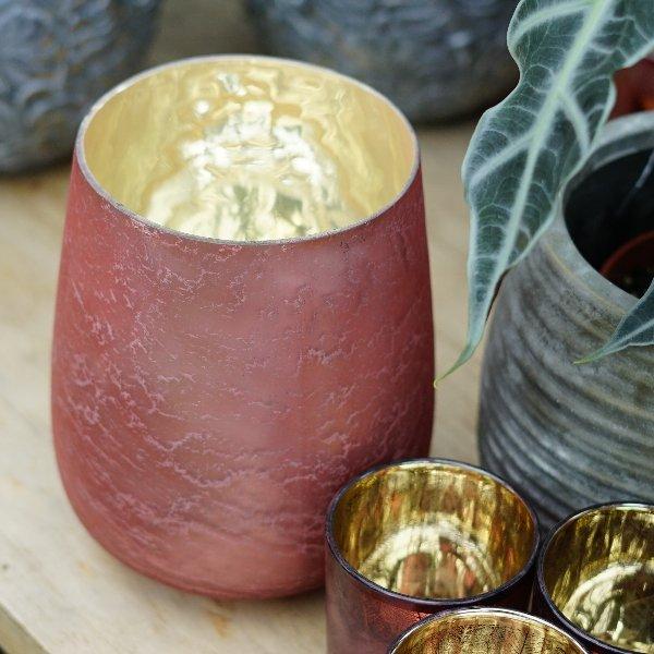 Windlicht rosa-gold Bild 1