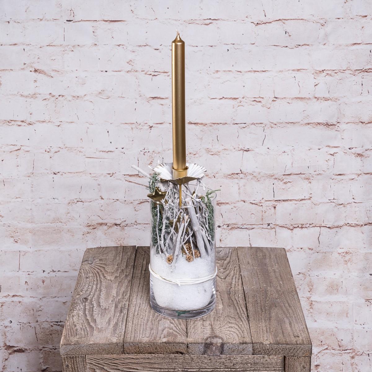 Weihnachtliches Glas in Weiß-Gold Tönen Bild 1