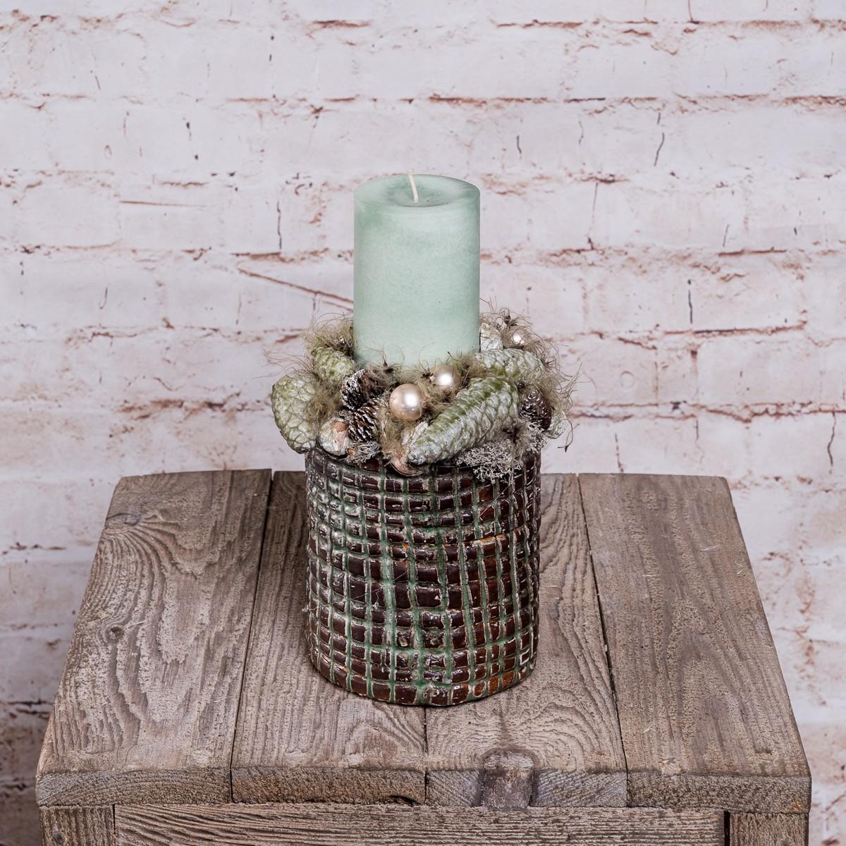 Kerzengesteck in Mint-Tönen Bild 1