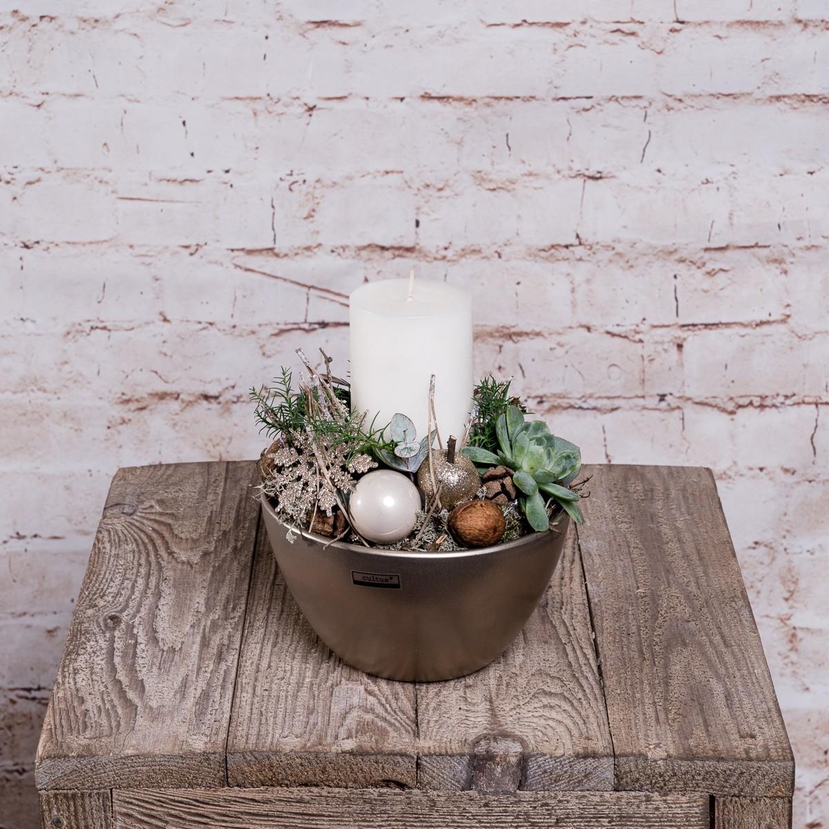 Kerzengesteck in Silber-Grün Tönen Bild 1