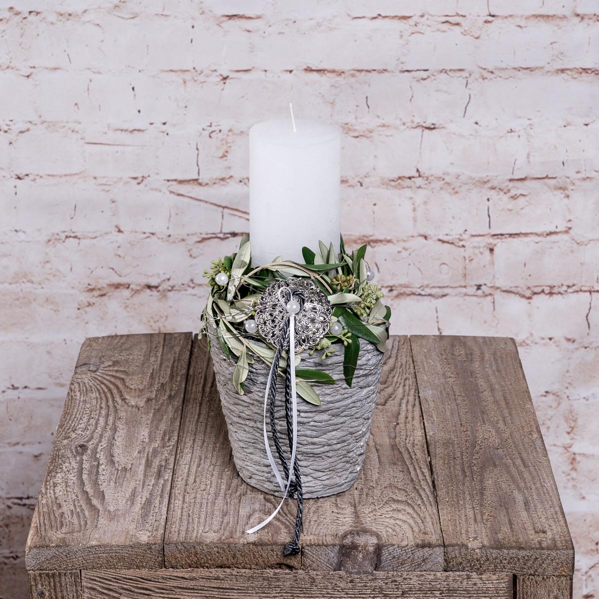 Großes Kerzengesteck in Silber-Grün Bild 1