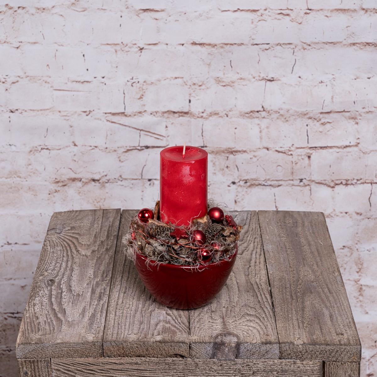Kleines Kerzengesteck in Rot Bild 1