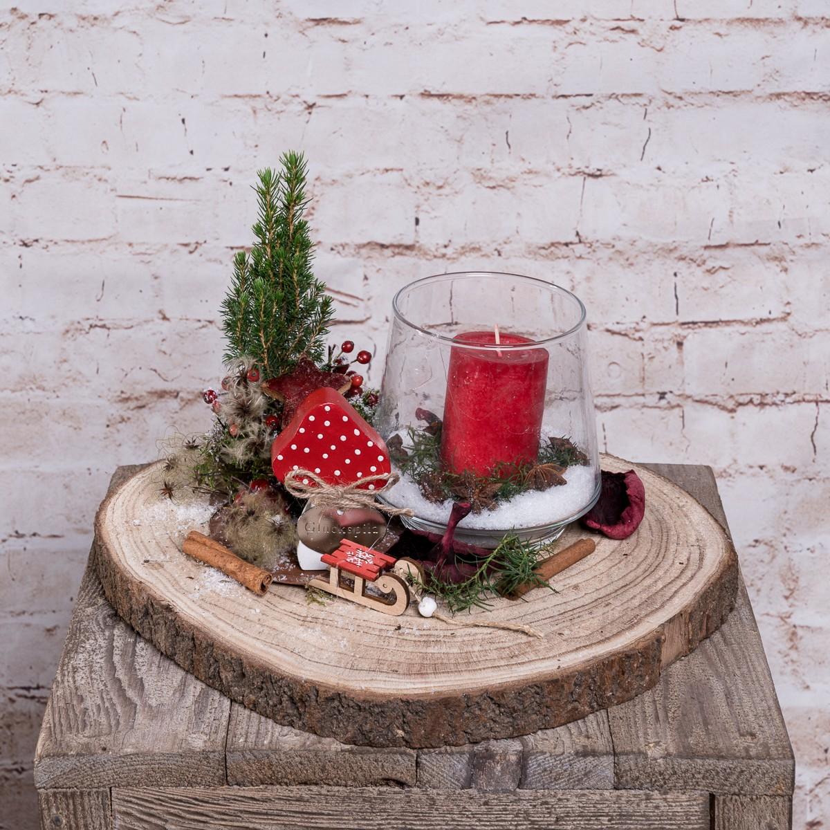 Weihnachtliche Holzscheibe in Rot Natur Bild 1