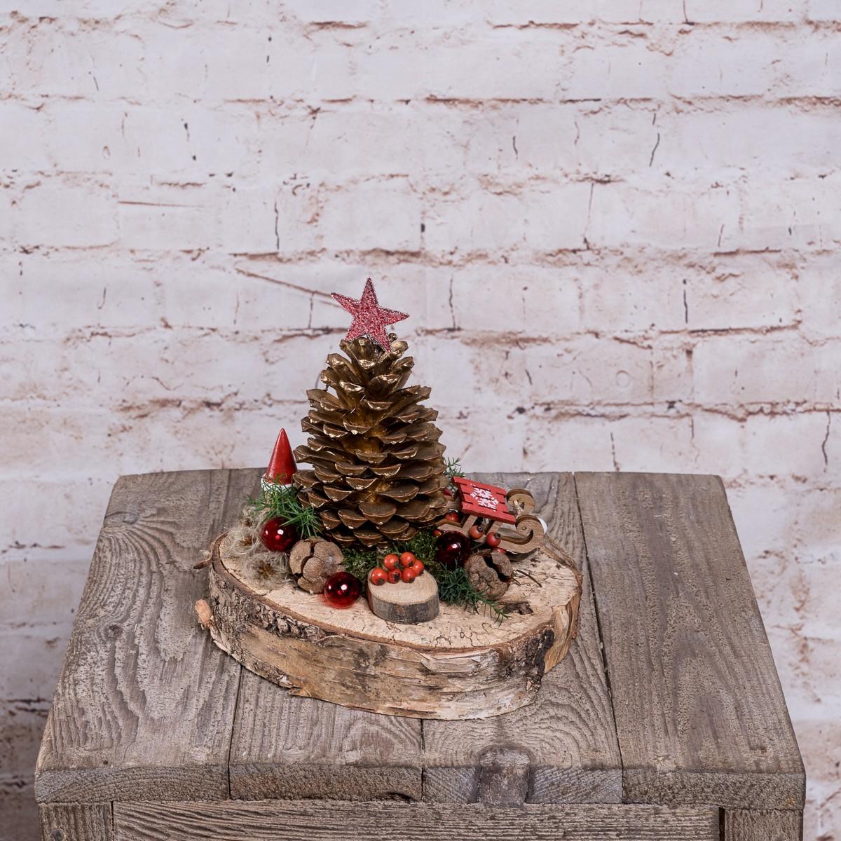Weihnachtliche Holzscheibe in Natur Bild 1