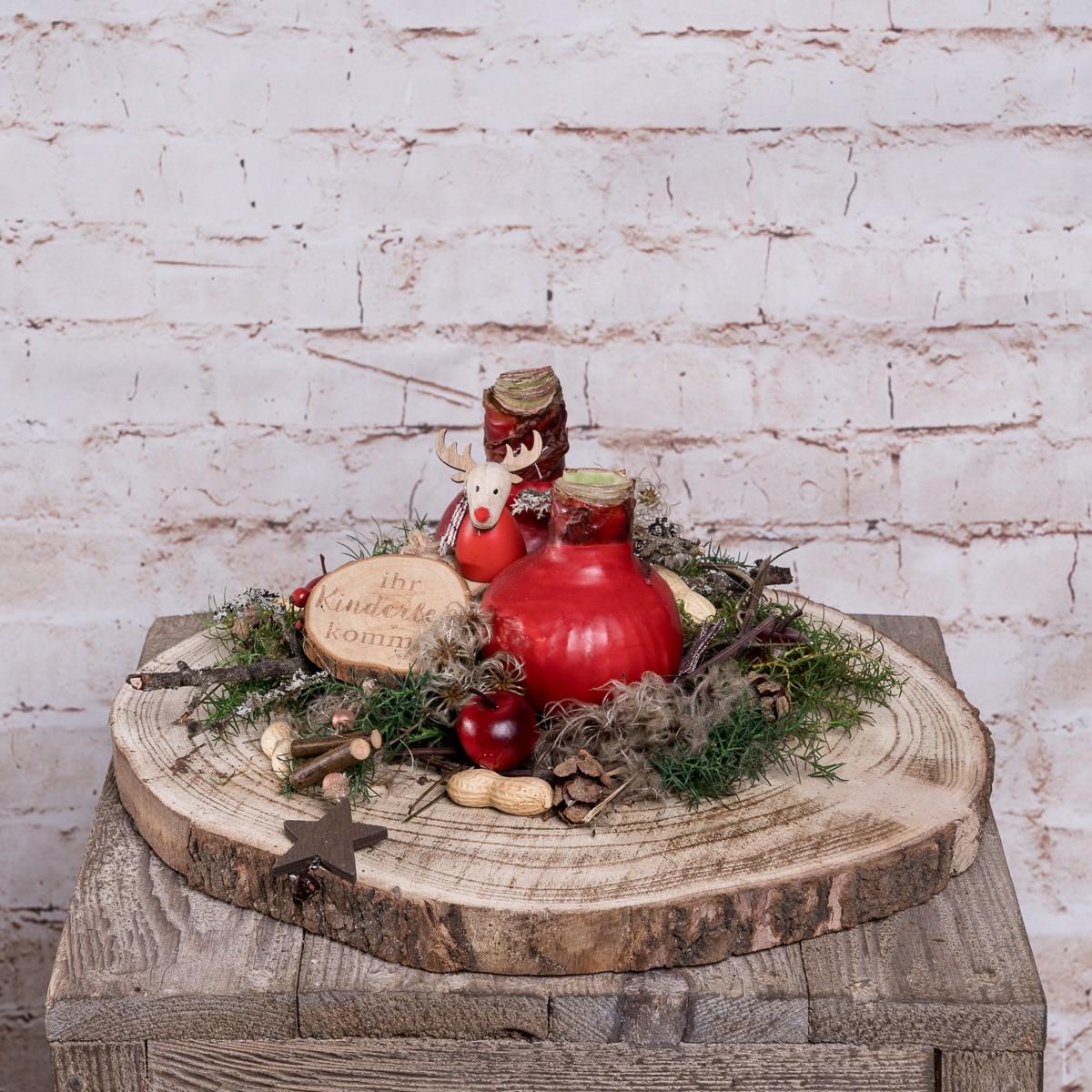 Weihnachtliche Holzscheibe mit Amaryllis Bild 1