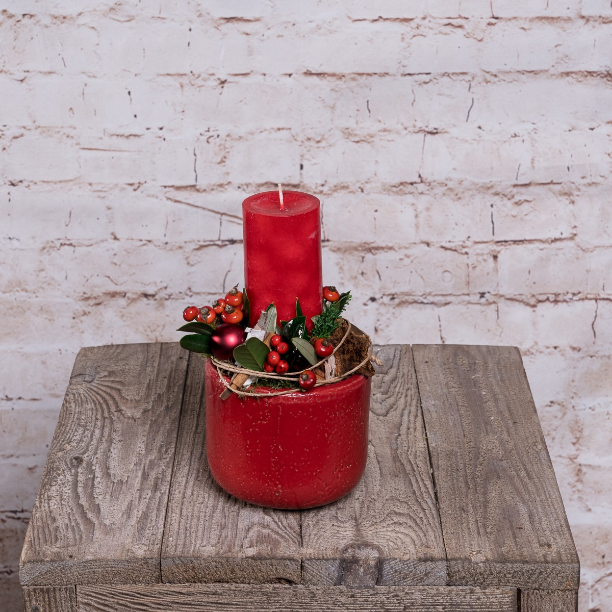 Kerzengesteck in Rot Bild 1