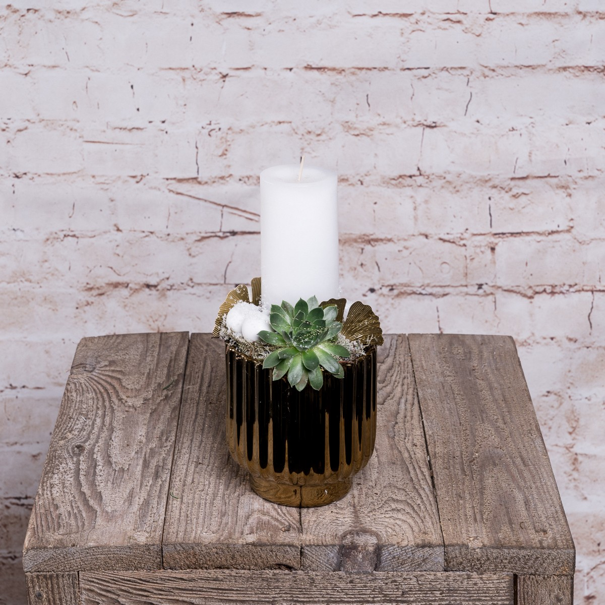 Kerzengesteck in Weiß-Gold Bild 1