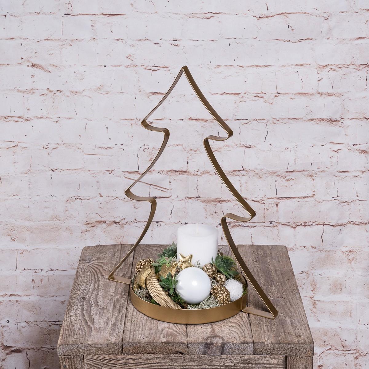 Kleiner Metalltannenbaum Weihnachtlich dekoriert Bild 1