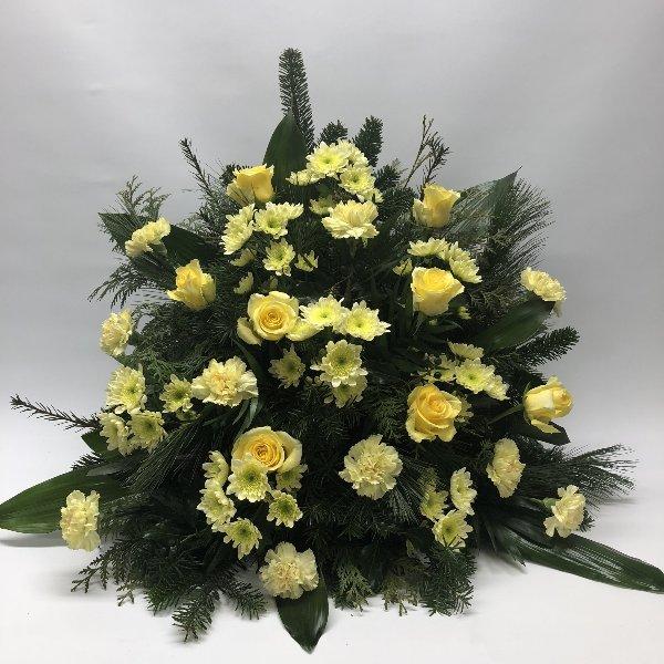 Trauergesteck gelb Bild 1