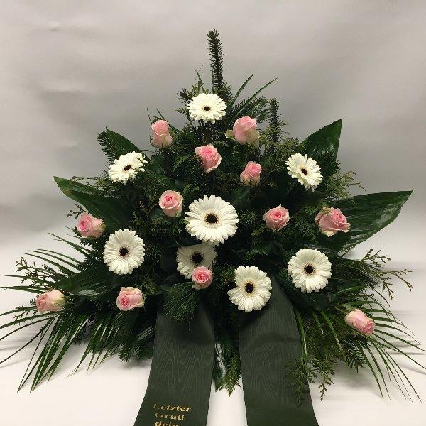 Trauergesteck weiß & rosa Bild 1