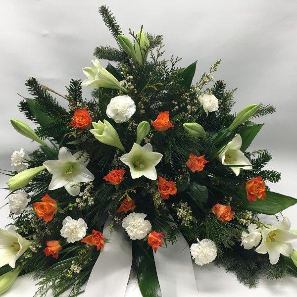 Trauergesteck weiß & orange Bild 1