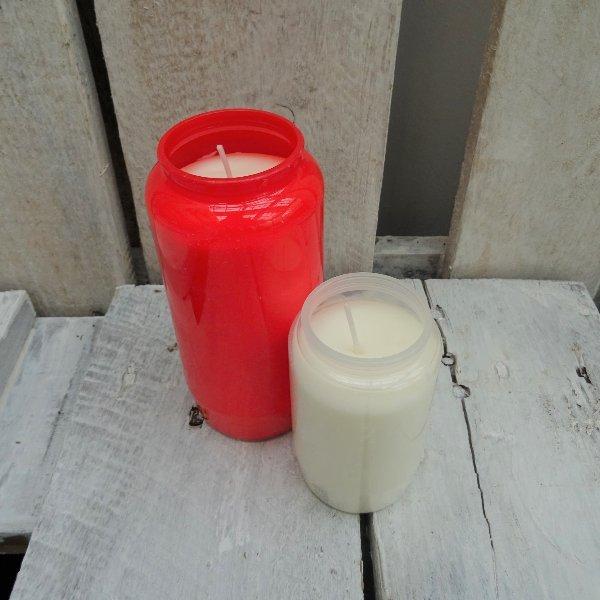 Grabkerze ohne Deckel , weiß oder rot Bild 1