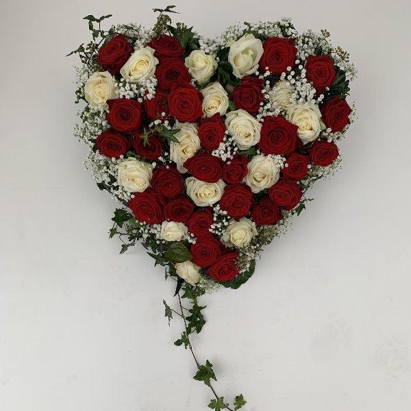 Herz mit roten und weissen Rosen Bild 1