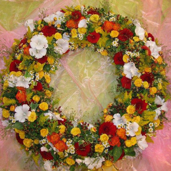 Trauerkranz rundgesteckt gelb/weiss/rot Bild 1