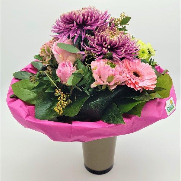 Blumenstrauß mit Dekochrysantheme und Germini in pink Bild 1