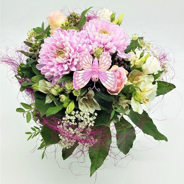 Blumenstrauß in rosa mit Schmetterling Bild 2