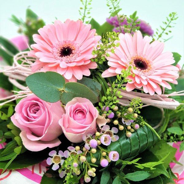 Strauß mit Germini und Rosen in rosa Bild 2