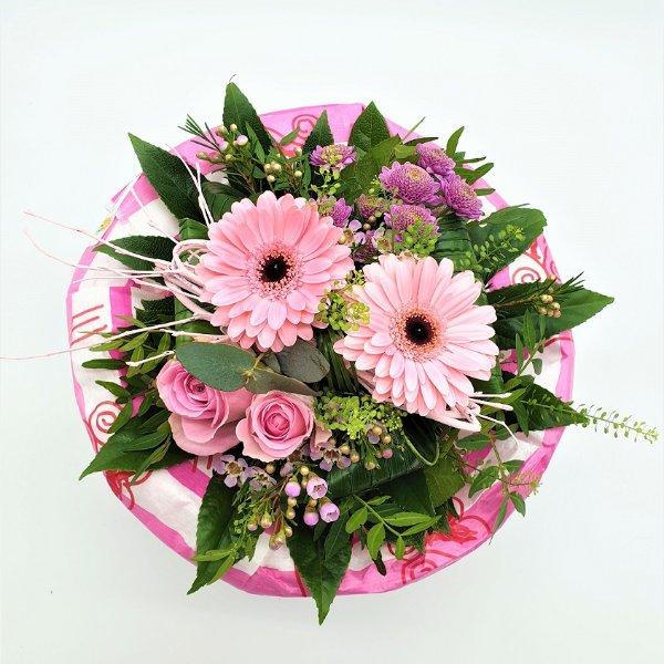 Strauß mit Germini und Rosen in rosa Bild 4