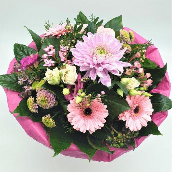 Strauß in pink mit Dekochrysantheme Bild 1
