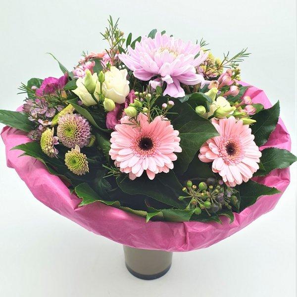 Strauß in pink mit Dekochrysantheme Bild 2