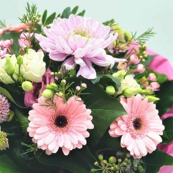 Strauß in pink mit Dekochrysantheme Bild 3