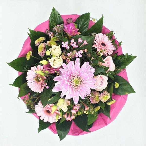 Strauß in pink mit Dekochrysantheme Bild 4