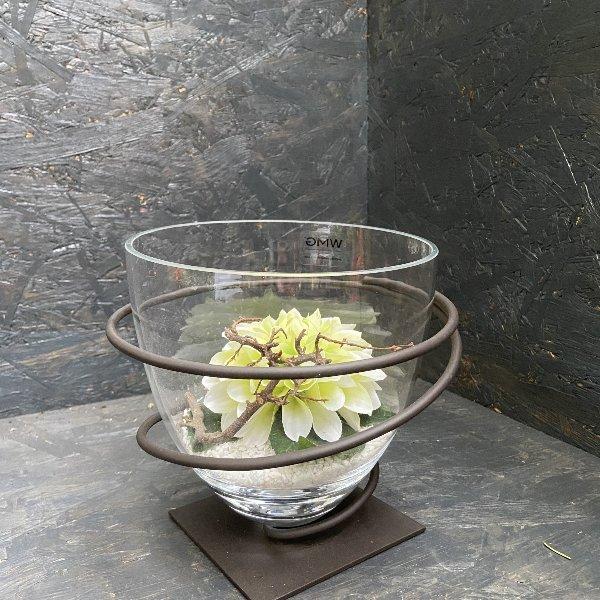 Glas mit Eisenhalter, dekoriert, 20 cm hoch Bild 1
