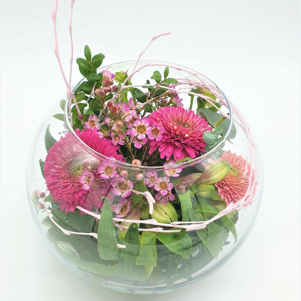 Glasschale rund in rosa/pink Bild 1