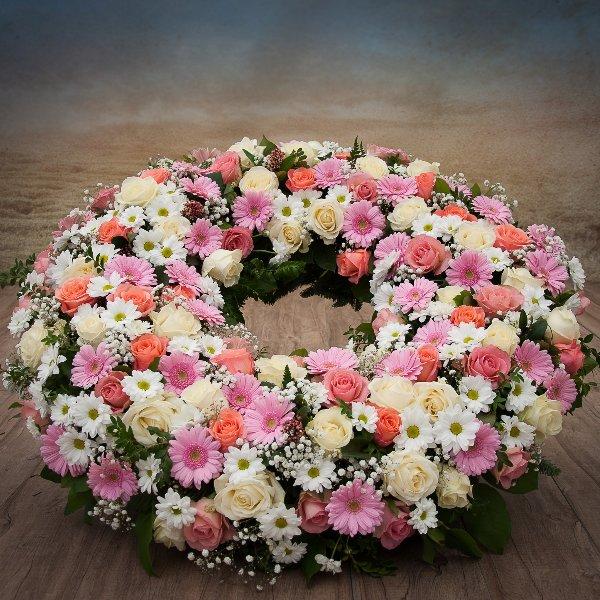 Trauerkranz, rund gesteckt, Rosa/Weiß Bild 1
