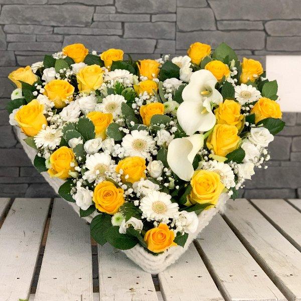 Herz gelb und weiß mit Kalla Bild 1