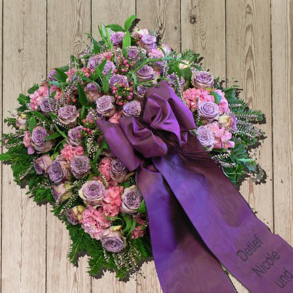 Gesteck in violett und rosa Bild 1