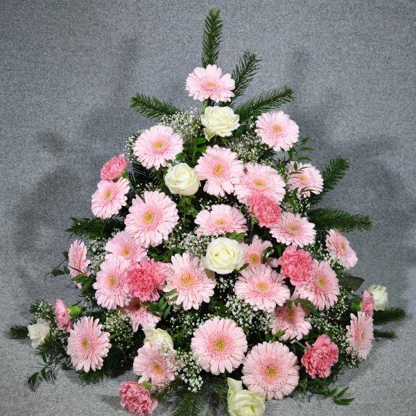 Trauergesteck, Rosé Töne Bild 2