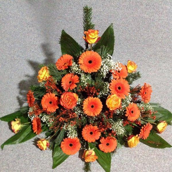 Trauergesteck, Orange Töne Bild 2
