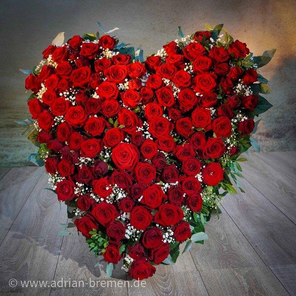 Rote Rosen-Herz mit Aufsteller Bild 1