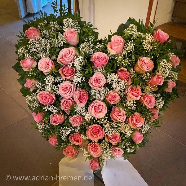 Rosa Rosen-Herz mit Aufsteller Bild 1