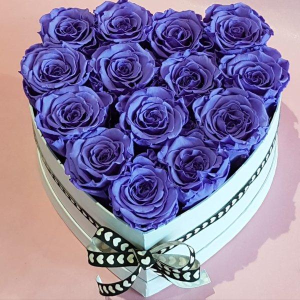 H 1    Rosenherz mit lila  gefriergetrockneten Rosen, ca 13-14 Stück Bild 1
