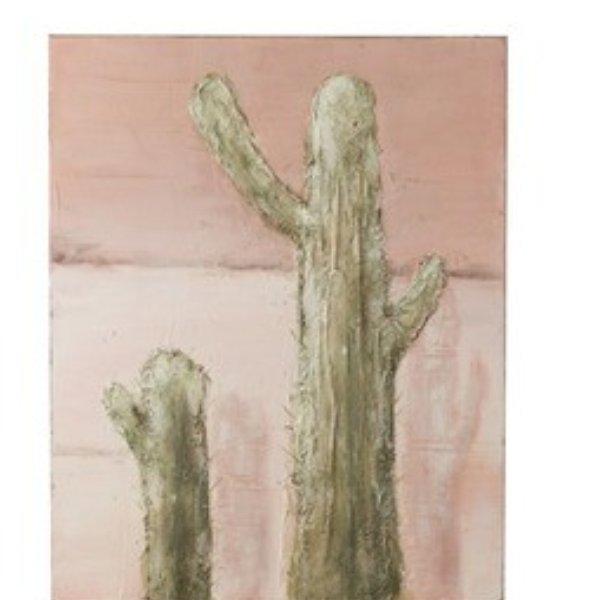 Bild Kaktus Kanevas/Holz Grün/Rosa Bild 1
