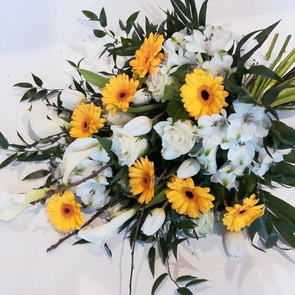 Trau 6  Trauerstrauß in gelb-weiß Bild 1