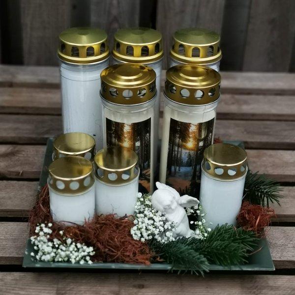 Kerzenteller klein weiß Bild 1