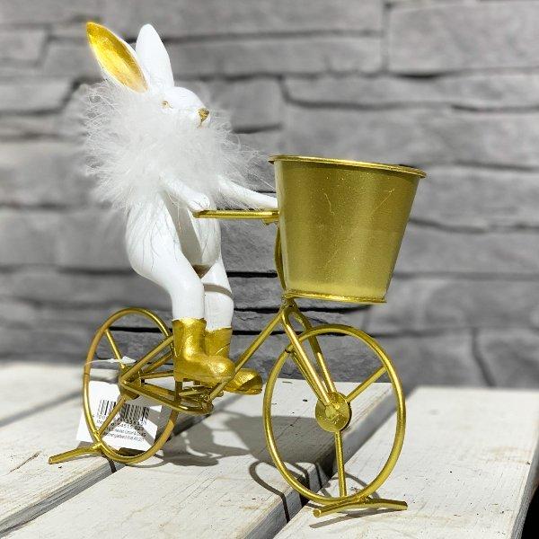 Metall-Fahrrad gold m.Polyhase weiß Bild 1