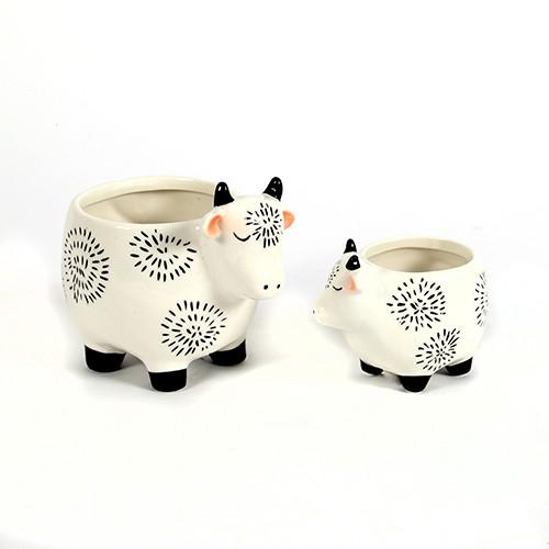 Übertopf Keramik-Pflanz Kuh,schwarz-weiß glasiert Bild 1