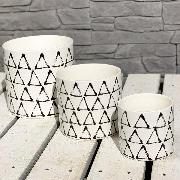 Übertopf Keramik Zylindertopf, Dekor black&white Dreiecke Bild 1